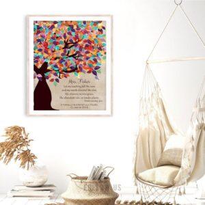 Deuteronomy 32:2 Personalized Watercolor Tree Gift For Teacher Professor Principal Custom Art Print #1229