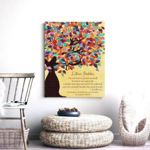 Timothy 2:15 Personalized Watercolor Tree Gift For Teacher Professor Principal Custom Art Print #1231
