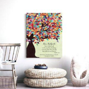 Psalm 22:6 Personalized Watercolor Tree Gift For Teacher Professor Principal Custom Art Print #1232