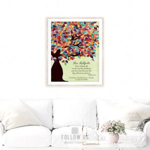 Psalm 22:6 Personalized Watercolor Tree Gift For Teacher Professor Principal Custom Art Print #1232