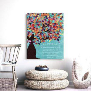 Matthew 5:19 Personalized Watercolor Tree Gift For Teacher Professor Principal Custom Art Print #1233