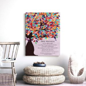 Romans 12:6-7 Personalized Watercolor Tree Gift For Teacher Professor Principal Custom Art Print #1234