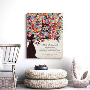 Psalm 32:8 Personalized Watercolor Tree Gift For Teacher Professor Principal Custom Art Print #1235