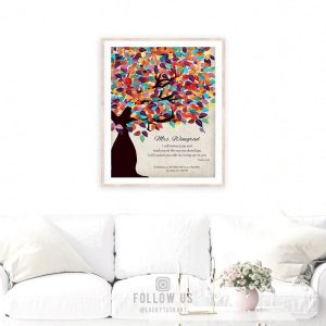Psalm 32:8 Personalized Watercolor Tree Gift For Teacher Professor Principal Custom Art Print #1235