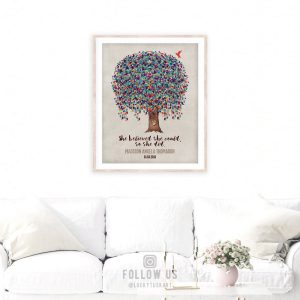 She Believed She Could So She Did Personalized Birds Family Tree Gift For Mother's Day Thank You Mom #1236