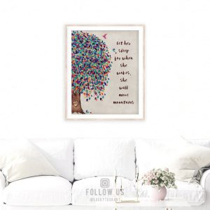 Let Her Sleep Personalized Nursery Tree Gift For Baby Girl Room Gift For Baby #1237