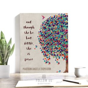 And Though She Be But Little Personalized Colorful Tree Gift For Girl Nursery Baby Room #1239