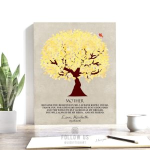 My Mother My Hero Personalized Yellow Tree Poem Gift For Mother's Day Thank You Mom #1240