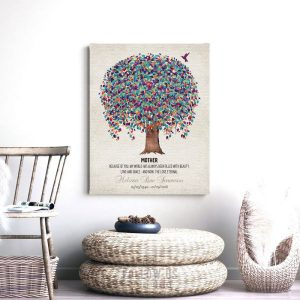 Memorial Plaque For Mother Love Eternal Poem Tree Hummingbird Gift For Remembering Mum Custom Art Print #1241
