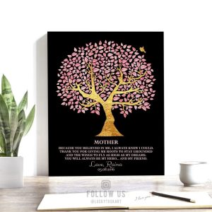 Mother's Day Gift Faux Gold Foil Pink Thank You Mom Wings Roots Birthday Gift For Mom Custom Art Print #1245