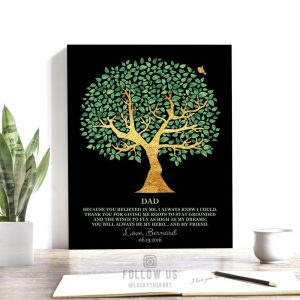 Father Friend Hero Personalized Gift For Dad Family Tree Gift For Father's Day Thank You Dad #1246