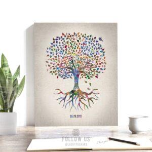 Minimalist Watercolor Tree Print Family Tree Gift For Mother's Day Wedding Anniversary Custom Art Print #1248