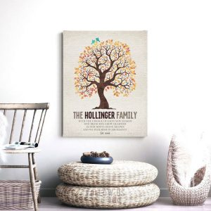 Family Tree Change of Season Poem Personalized Gift For Wedding Anniversary Mother's Day Custom Art Print #1252