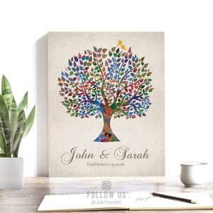 Personalized Watercolor Tree Vintage Background Wedding Anniversary Custom Art Print Gift For Couple #1254