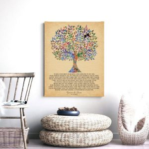 Mother of Bride Watercolor Family Tree of Life Personalized Thank You Gift for Parents Custom Art Print #1256