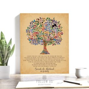 Mother of Groom Watercolor Family Tree of Life Personalized Thank You Gift for Parents Custom Art Print #1257