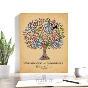 Personalized Gift For Mother of Groom Gift From Bride Watercolor Wedding Tree Custom Art Print #1260