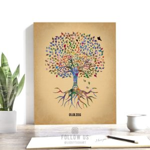 Minimalist Tree With Roots Anniversary Date Watercolor Wedding Family Tree Gift For Wife Custom Art Print #1261