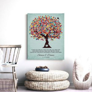 I Love You For All That You Are Personalized Carved Initials Anniversary Wedding Tree Gift Custom Art Print #1262