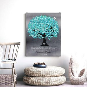I Love You For All That You Are Turquoise Silver Wedding Tree Anniversary Gift Personalized Custom Art Print #1265