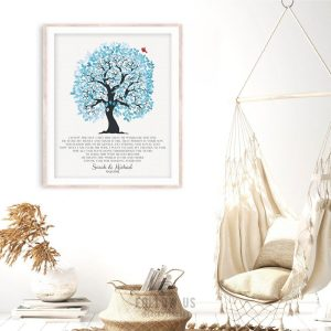 I Knew The Day I Met Him Blue And White Wedding Tree Personalized Gift Mother Of Groom Gift Custom Art Print #1266