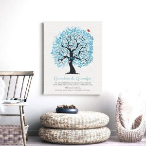 Grandma Grandpa We Are So Blessed Blue White Family Tree Personalized Gift For Grandparents Custom Art Print #1268