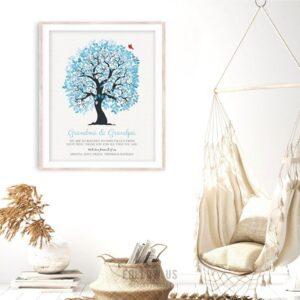 Grandma Grandpa We Are So Blessed Blue White Family Tree Personalized Gift For Grandparents Custom Art Print #1268