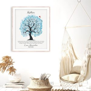 Two Lasting Bequests Hodding Carter Blue And White Wedding Tree Personalized Gift To Parents Custom Art Print #1273