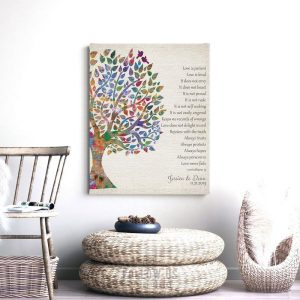 Love Is Patient 1 Corinthians 13 Vintage Watercolor Personalized Tin 10 Year Anniversary Gift Wedding Tree Art Print #1274