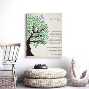 Green Watercolor Wedding Tree E.E. Cummings Poetry Carry Your Heart Personalized Tin 10 Year Anniversary Gift #1277