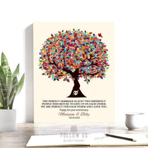 The Perfect Marriage Colorful Spring Wedding Tree Carved Initals Personalized Tin 10 Year Anniversary Gift #1288