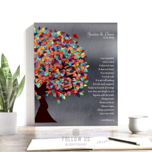Love Is Patient Corinthians Watercolor Spring Wedding Tree Shiny Tin Personalized 10 Year Anniversary Gift #1289