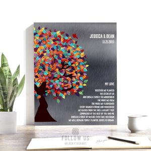 My Love Poem Spring Wedding Tree Watercolor Leaves Shiny Tin Background Personalized 10 Year Anniversary Gift #1290