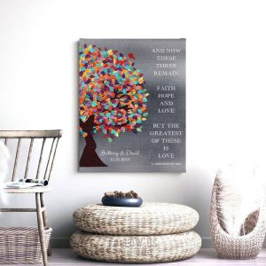 1 Corinthians 13:13 Spring Wedding Tree Shiny Tin Background Lovebird Personalized Tin 10 Year Anniversary Gift #1292