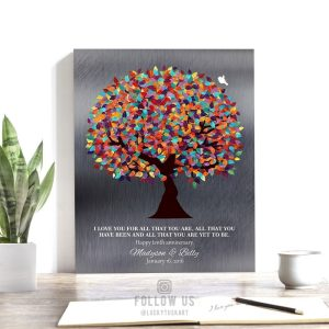 I Love You For All That You Are Yet To Be Spring Wedding Tree Shiny Tin Personalized 10 Year Anniversary Gift #1294
