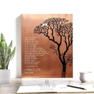 1 Corinthians Love is Patient Faux Copper Bare Tree Personalized Tin 10 Year Winter Wedding Anniversary Gift #1296
