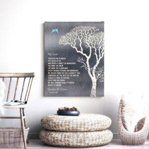 My Love Poem Personalized Tin 10 Year Wedding Anniversary Gift Shiny Tin Bare Trees Winter #1298