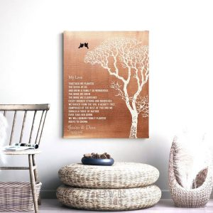 My Love Poem Personalized Faux Copper Bare Winter Wedding Tree Tin 10 Year Anniversary Gift for Couple #1299