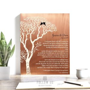 I Carry Your Heart EE Cummings Personalized Faux Copper Tin 10 Year Wedding Bare Tree Anniversary Gift #1300