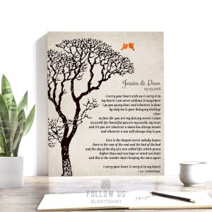 EE Cummings Personalized Bare Tree Winter Wedding Vintage Background Personalized Tin 10 Year Anniversary Gift #1301