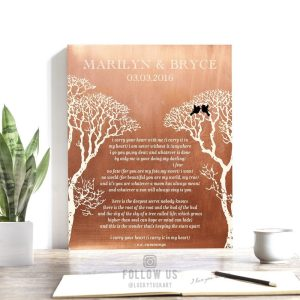 I Carry Your Heart Bare Trees Love Birds Winter Wedding Faux Copper Personalized Tin 10 Year Anniversary Gift #1302