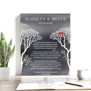I Carry Your Heart Bare Trees Winter Wedding Love Birds Shiny Tin Personalized Tin 10 Year Anniversary Gift #1303