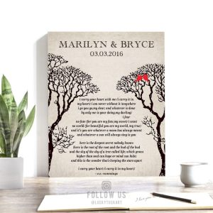 EE Cummings Bare Trees Winter Wedding Vintage Background Love Birds Personalized Tin 10 Year Anniversary Gift #1304
