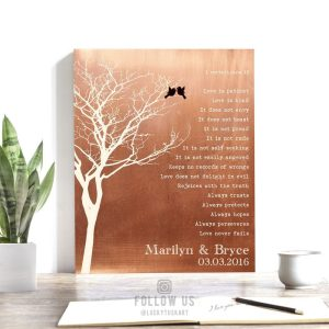 Bare Tree Love Birds Personalized Corinthians Verse Faux Copper Tin 10 Year Anniversary Keepsake Gift #1305