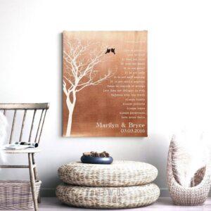 Bare Tree Love Birds Personalized Corinthians Verse Faux Copper Tin 10 Year Anniversary Keepsake Gift #1305