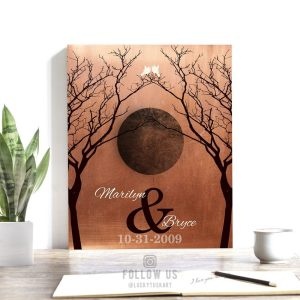 Bare Trees Moon Winter Wedding Faux Copper Personalized Tin 10 Year Anniversary Gift Halloween October Night #1307