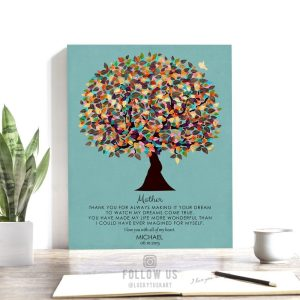 Poem For Mother From Son Personalized Gift For Mothers Day Watercolor Tree Gift Custom Art Print #1312