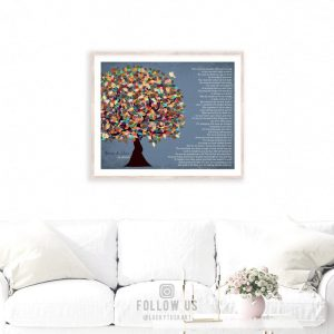 Thank You Gift to Parents Poem For Mom and Dad Family Tree Gift From Son Daughter Custom Art Print #1313