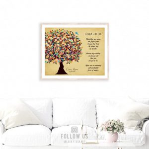 Gift From Mom and Dad Personalized Gift For Daughter Graduation Day Tree Gift Custom Art Print #1316