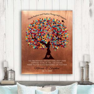Think Positive Best Thing That's Ever Happened To Me Faux Copper 7 Year Anniversary Gift Custom Art Print 1345
